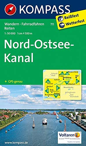 KOMPASS Wanderkarte Nord-Ostsee-Kanal: Wanderkarte mit Radtouren und Reitwegen. GPS-genau. 1:50000
