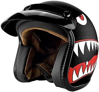 Open Face Vintage Style Motorcycle Helmet with Visor Matte Black Shark