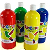 PASUTO pasutopaintx4 4 Colours RED Blue Green Yellow Super Size 1000 ml Ready-Mix Superwashable Tempera Children. 60% More Paint Than Most Other Bottles, 1 l (Pack of 4)