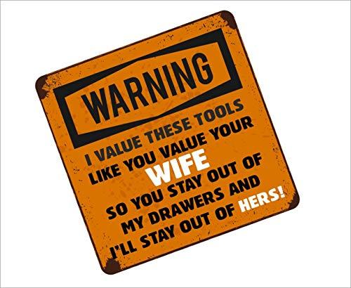 Grappige gereedschapskist Waarschuwing ik WAARDE DEZE TOOLS zoals u waarderen uw vrouw slogan Vinyl auto Sticker Decal 100x100mm