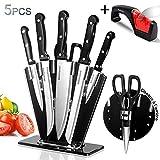 Masthome Set de 5 Couteaux de Cuisines Ensemble de Couteaux en Acier Inoxydable avec 1 Ciseaux et 1 Aiguiseur Supplémentaires Couteaux Cuisinier Professionnels