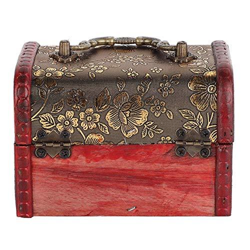 Houten kist geschenkdoos, vrouwen vintage sieraden ketting armband opslag display organisator