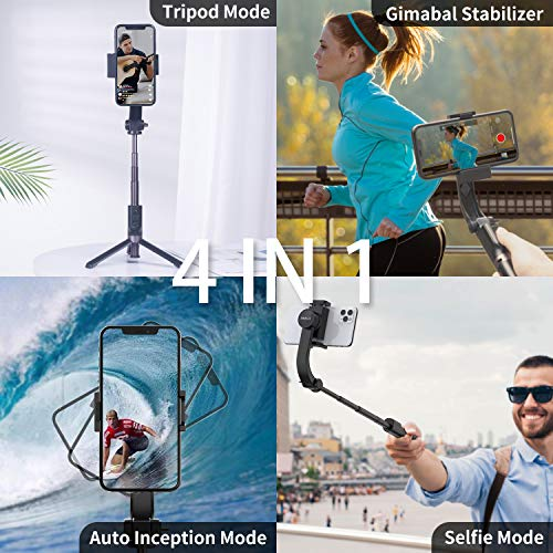 iWALK Gimbal Stabilizer for Smartphone,Auto Balance, Reduce Shaking,1-Axis Handheld Pan-tilt Tripod with Built-in Bluetooth Remote for iPhone 11/11 Pro/X/Xr/6s,Samsung S10+/S10/S9/S8(Black)