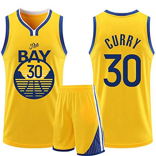 Dybory Conjunto De Camiseta para Hombre De La Nueva Temporada, Golden State Warriors # 30 Stephen Curry City Edition Traje De Camiseta para Fanáticos Pantalones Cortos,Amarillo,4XL