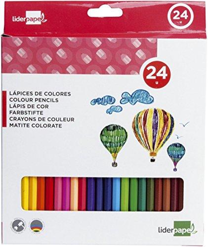 Liderpapel 934247 Crayon Couleur Mine Extra-Résistante 174,5 mm Écriture Douce Intenses Boîte Carton Plastifié de 24 Couleurs Assorties