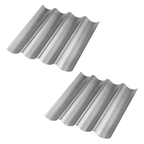 Tebery 2-Set 4 mulden Antihaft Baguette-Backblech Baguetteform, 38*33*2.5cm