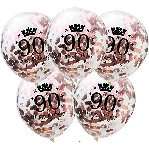 DIWULI, 5 piezas de globos de cumpleaños, número 90, feliz cumpleaños, estrellas de confeti de oro rosa globos de látex, número de globos, globos de látex, decoración del juego de globos 90 cumpleaños