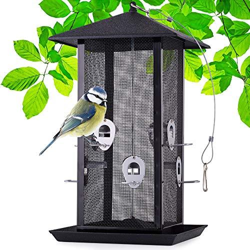 zooprinz Riesiges XXL Futterhaus für Vögel, Vogelfutterspender mit stabilen Sitzstangen und Schutzdach für Wildvögel – witterungsbeständig und langlebig – Dank des Stahlseils schnell aufgehängt
