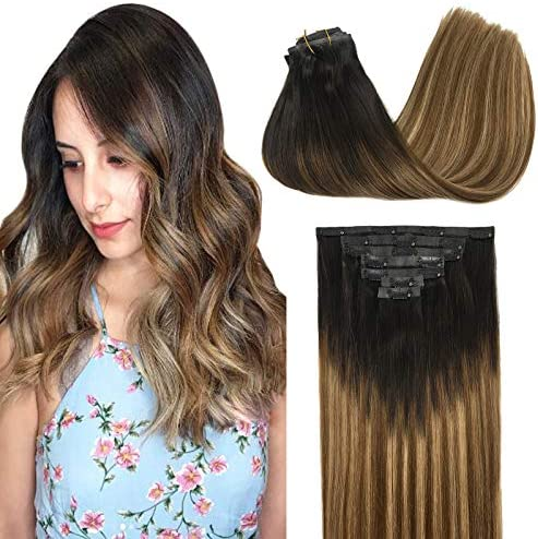 GOO GOO Glam Seamless Clip in Hair Extensions 16 Inch Ombre Dark Brown Fading to Chestnut Brown product image