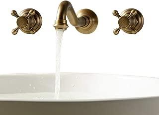 Lightinthebox Two Handle Wall Mount Antique Inspired Solid Brass Bathroom Sink Faucet Bathtub Mixer Taps Long Curve Spout Vessel Sink Bath Shower Plumbing Fixtures Roman Tub Bar Faucets