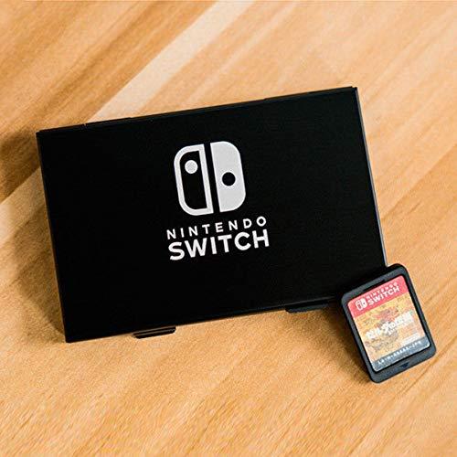 DERCLIVE Nintendo Switch Caja de Almacenamiento de Cartucho de Tarjeta de Juego de Metal de Aluminio de 6 Ranuras Negro
