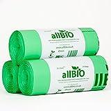 75 bolsas de basura de 25litros, de allBIO, 100% biodegradables y compostable, para cubos de...