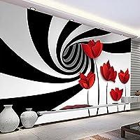 3D写真壁画壁紙ブラックホワイトフラワースペース抽象アート壁画モダンなリビングルームテレビ背景壁 350*245cm