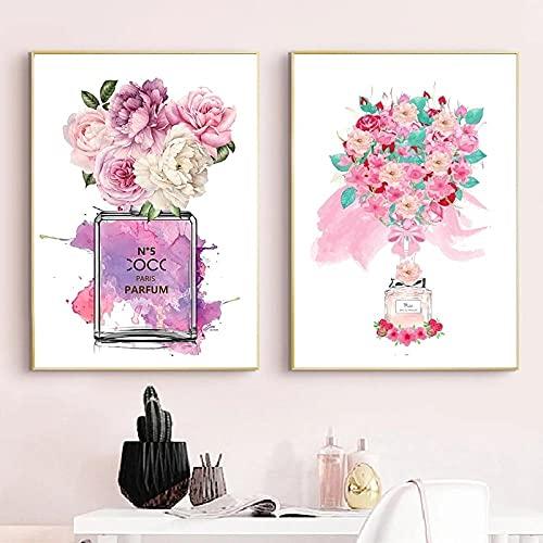 QZROOM Moda Botella de Perfume impresión peonía Flor Acuarela Pintura Lienzo Cartel Mujer Pared Arte Imagen niñas Dormitorio decoración 45x65cmx2 | sin Marco