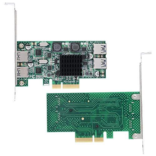 PCI-E Scheda di Espansione, PC Desktop USB 3.0 Scheda di Espansione a 4 porte PCI-E a 2 Canali 5 Gbps per Windows, Scheda di Espansione PCI Express (PCIe) Scheda USB((U3201 a doppio canale a 4 porte))