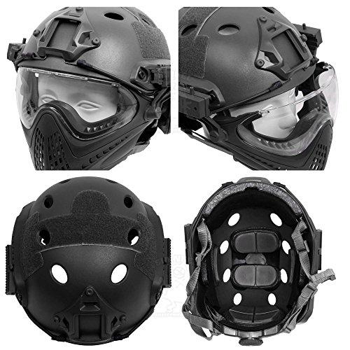 SHENKELPJタイプFASTヘルメットフルフェイスマスクゴーグル取り外し可能(ブラック)サバゲー装備サバイバルゲームメンズレディースミリタリータクティカル