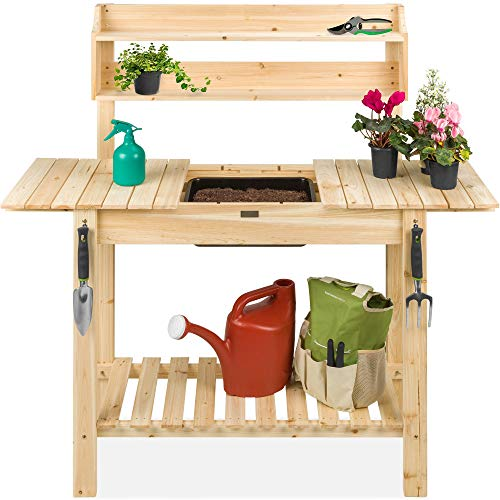 Best Choice Products Outdoor Mobile Garden Potting Bench, Wood Workstation Table w/Sliding Tabletop, Food Grade Dry Sink, Storage Shelves - Natural