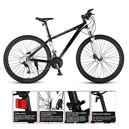 Mountain Bike Da 29 Pollici, Ammortizzatore A 33 Velocità, Bicicletta Con Telaio in Lega Di Alluminio Ad Alta Resistenza, Forcella Anteriore Bloccabile E Doppi Freni A Disco Idraulici,Black red