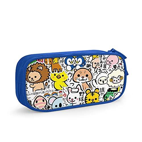 Estuche de lápices de poliéster multiples criatures72 portátil de gran capacidad de aprendizaje, bolsa de almacenamiento con cremallera, regalo de temporada escolar, para niños y niñas, azul