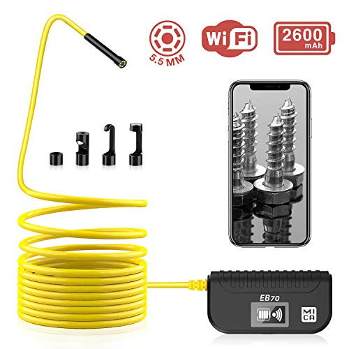 Wireless Endoscope, MICA 5.5mm Diameter 2.0MP HD Inspection Camera, IP67 Waterproof, Semi-Rigid Flexible Cable with 2600 mAh Battery for iOS & Android Phone