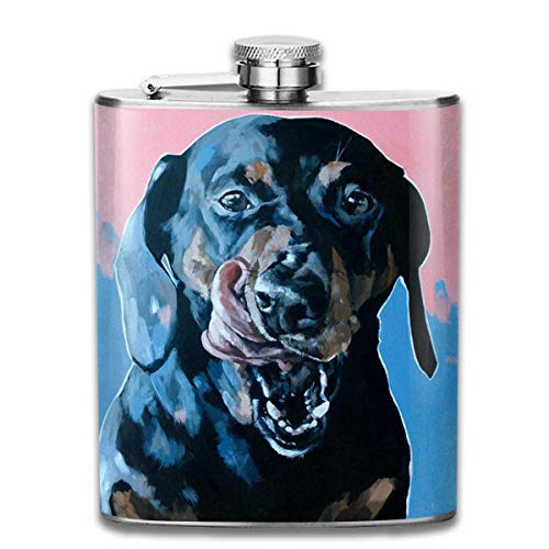 German Doberman Watercolor Fashion Portable Stainless Steel Hip Flask Whiskey Bottle for Men and Women 7 Oz
