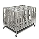"""Confote 37"""" Heavy Duty Stainless Steel Dog Cage Kennel Crate and Playpen for Training Large Dog Indoor Outdoor with Double Doors & Locks Design Included Lockable Wheels Removable Tray No Screw"""