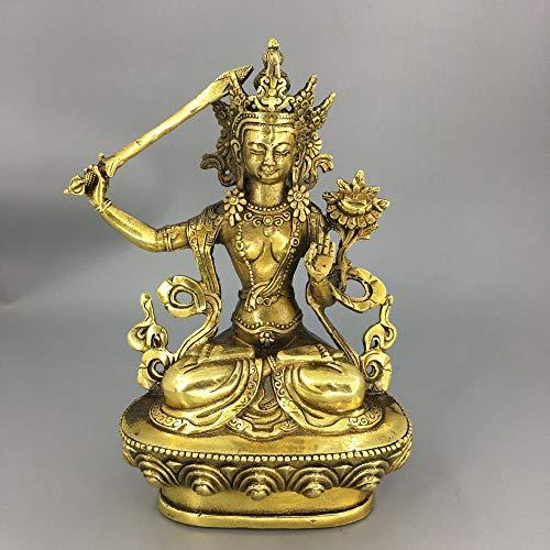 "MKYXLN 6.4"" Tibetan Bronze Manjushri Bodhisattva Buddha Statue"