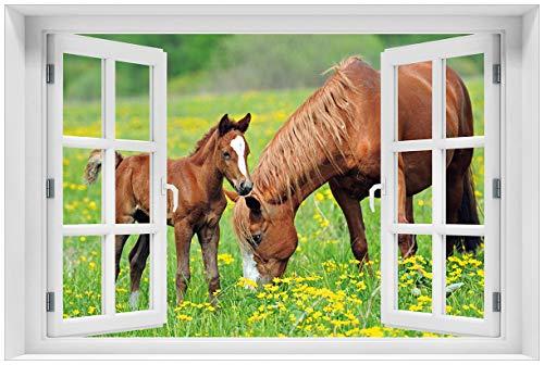 Wallario selbstklebendes Poster mit Fenster-Illusion: Pferde auf der Koppel in Premiumqualität, Größe: 61 x 91,5 cm (Maxiposter)