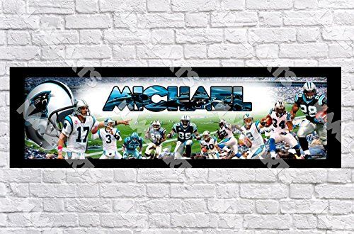 Personalized/Customized Carolina NC Panthers Name Poster with Border Mat- Home Wall Decor Birthday Party Door Banner