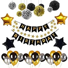 D-FLIFE Birthday Decorations - Birthday Party Supplies Party Decorations Balloons Gold Silver Black Happy Birthday Banner Balloons