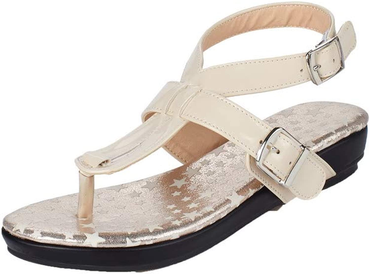 AllhqFashion Women's Solid Patent Leather Low-Heels Open-Toe Buckle Sandals, FBULD015093