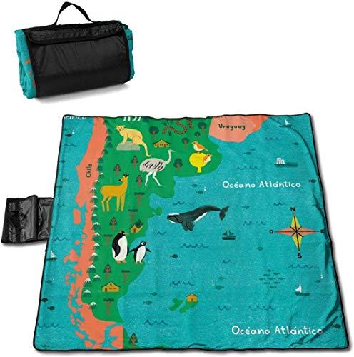 N/A Große wasserdichte Picknickdecke für den Außenbereich, Landkarte Argentinien, Tierwal, Sandfeste Strandmatte für Camping, Wandern, Gras Reisen