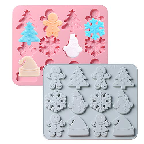 2 Pack Christmas Cake Fondant Molds, 3D Christmas-theme Baking Mould, Gingerbread Men Christmas Tree Snowman Cake Border Fondant Molds for Cake Baking Decoration
