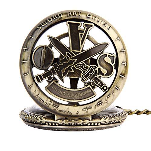XJJZS Auxiliar Redonda Hollow Dos Espadas Puede Dar Vuelta el Reloj de Bolsillo de la Vendimia Grande Hueco de Reloj de Bolsillo