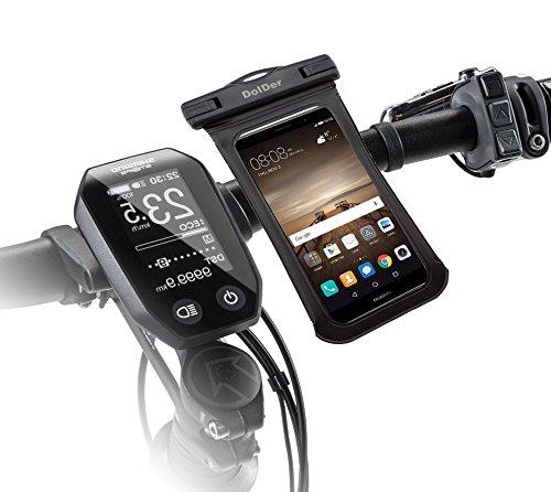DolDer 2in1 Wasserdichte Tasche mit Quick Fix Fahrradhalterung Fahrrad Halter mit Side Window für 4.3~5.1 zoll Smartphone wie iPhone 8/6S/SE/5S, Samsung Galaxy S7/S6/S5/A3/J3, Sony Xperia XA/XA1/X Compact/Z5 Compact/Z3 Compact, HUAWEI P8 LITE/Honor 6/Y3II/Y5II/Y6II,Microsoft Lumia 650/Lumia 550 Moto G4 Play usw. in Schwarz.