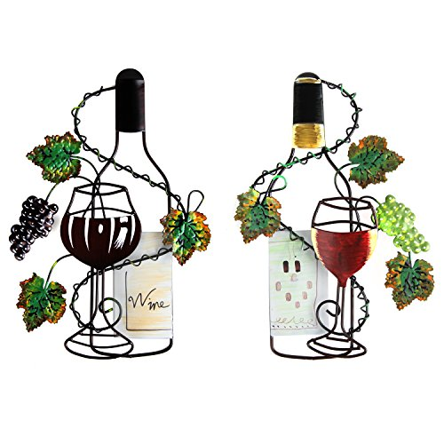 Arad Kitchen Decor Wall Wine Farmhouse For Men And Women Hand Painted Set Of Red White Bottles Leaves Buy Online In