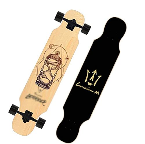 REMIGHTELY BRIGHT Long Board, Planche à roulettes Professionnelle de 46 Pouces, Planche de Danse rue rue à 4 Roues (Couleur   D)