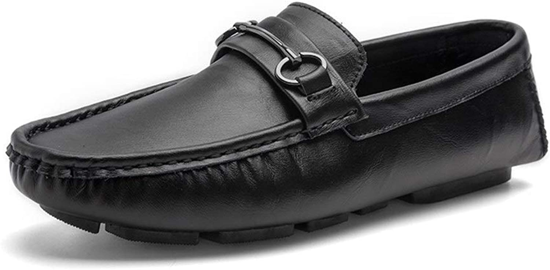 Easy Go Shopping Driving Loafer For Men Boat Moccasins Slip On Cowhide Leather Pure color Metaldecor Light shoes Cricket shoes (color   Black, Size   6.5 UK)