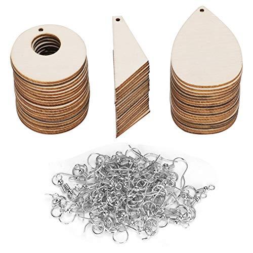 Pendientes de madera Pendientes de bricolaje en forma de lágrima en blanco sin terminar Accesorios de accesorios pintados a mano con estilo Suministros para mujeres y niñas