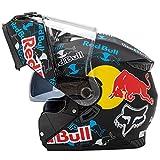 Casco de motocicleta modular, Red Bull Casco de motocross Casco de motocicleta Carcasa de ABS Ventilación porosa certificada ECE Cierre rápido Forro desmontable A,L (57-59cm)