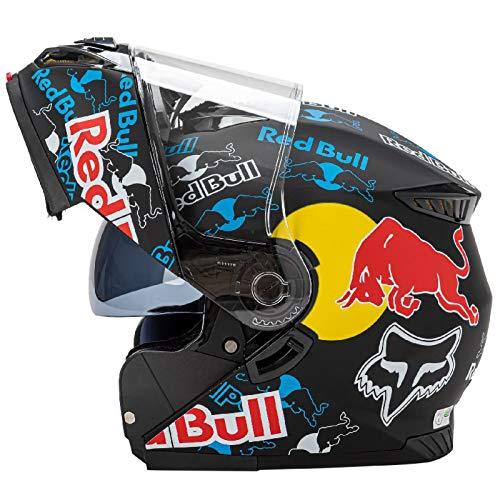 Casco de motocicleta modular, Red Bull Casco de motocross Casco de motocicleta Carcasa de ABS Ventilación porosa certificada ECE Cierre rápido Forro desmontable A,M(55-57cm)