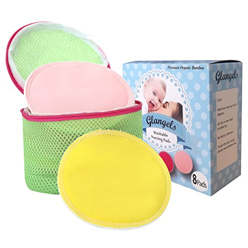 Glangels Thick Overnight Organic Bamboo Nursing Pads Washable Reusable Super Soft Breastfeeding Pads, Soothes Sensitive Nipple +Free Laundry Bag