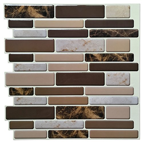 Art3d Kitchen Backsplash Tiles Peel and Stick Wall Stickers, 12'x12', (10 Sheets)