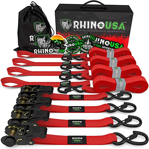 RHINO USA Ratchet Tie Down Straps (4PK) - 1,823lb Guaranteed Max Break Strength, Includes (4) Premium 1' x 15' Rachet Tie Downs with Padded Handles. Best for Moving, Securing Cargo (Red 4-Pack)