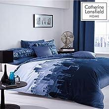 Catherine Lansfield City Scape - Funda nórdica y 2 fundas de almohada, diseño de ciudad (azul)