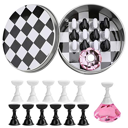 MWOOT Magnétique Présentoir D'art de Clou, D'échecs Conseil Aux Ongles Présentoir Support Nail Art Tips Stand holder pour Le Salon D'art DIY et La Manucure Pratique