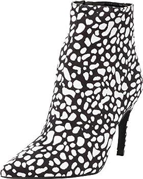 Cambridge Select Women s Closed Pointed Toe Stiletto High Heel Ankle Bootie,7 B M  US,Black/White IMSU
