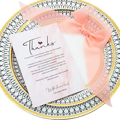 CAROLLIFE Hochzeits-Dankeskarten mit Chiffonbändern, 20 Stück, goldfarbene Tafelaufsätze und Hochzeitsdekorationen, 10,2 x 15,2 cm 4x6 inch rose pink