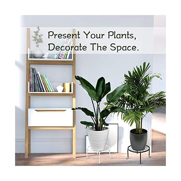 Lewondr Base de Soporte de Macetas Plantas, [3 PZS] 9 x 4.9 Inch Cesta de Flores de Metal con Tornillos Retro Contenedor…