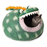 Twin Critters - Handcrafted Cat Cave Bed (Large) I Ecofriendly Cat Cave I Felted from 100% Natural Merino Wool I Handmade Pod for Cats and Kittens I Warm and Cozy cat Bed (Green Dragon)